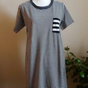 Madewell Navy Stripe Shirt Dress Mini Size Small